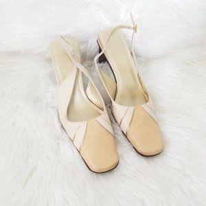 Nine West   Cream Square Toe Slingback Heels 8.5
